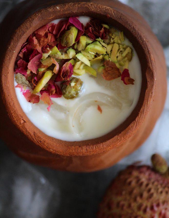Lychee and Water Chestnut Matka Kulfi  (Lychee aur Singhare Ki Matka Kulfi)