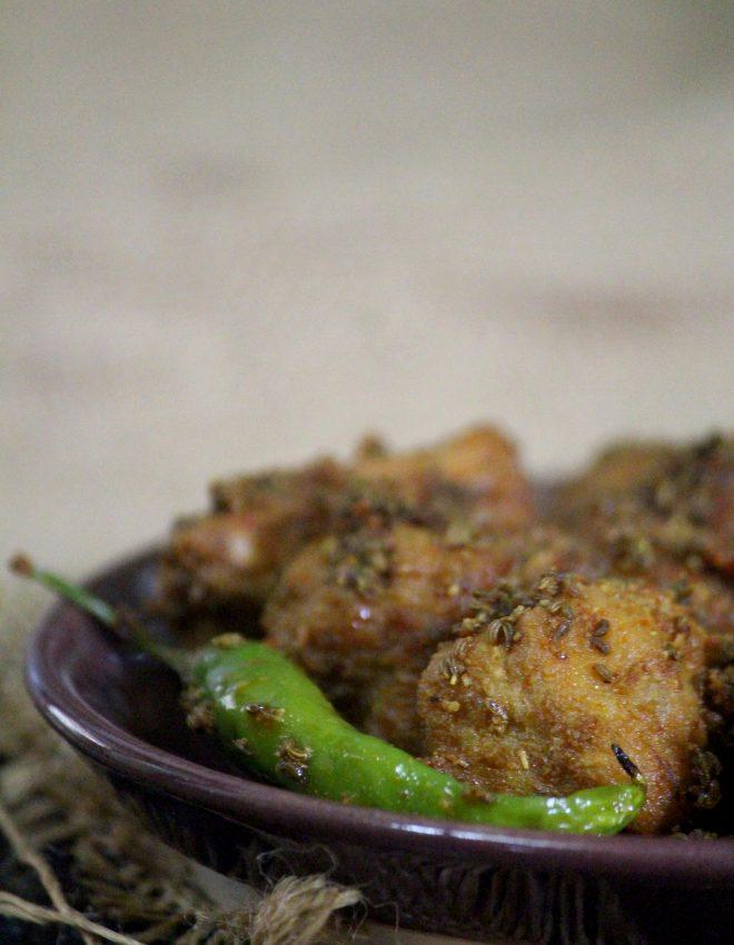 Punjabi Ajwainwali Arbi  (Punjabi-Style Fried Colocasia With Carom Seeds)