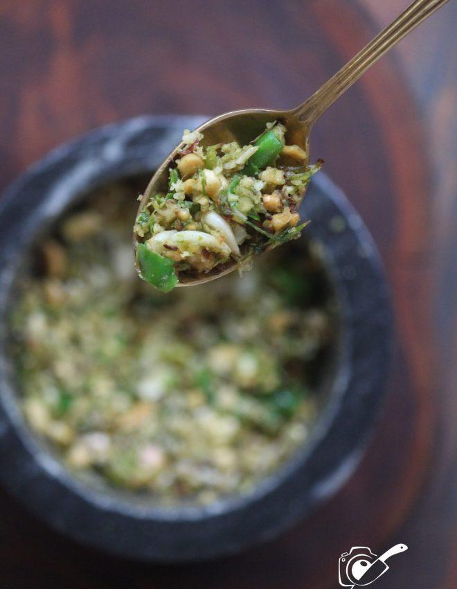 Hirvi Mirchi Cha Thecha(Maharashtrian Green Chilli Thecha)